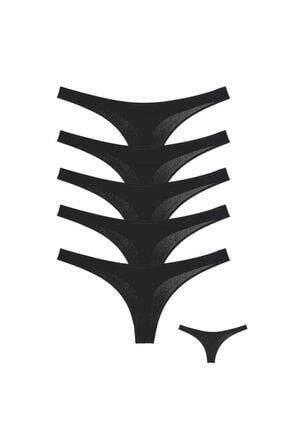 Donella 5'li Siyah Iz Yapmayan Kadın Tanga - 2496q-5lı