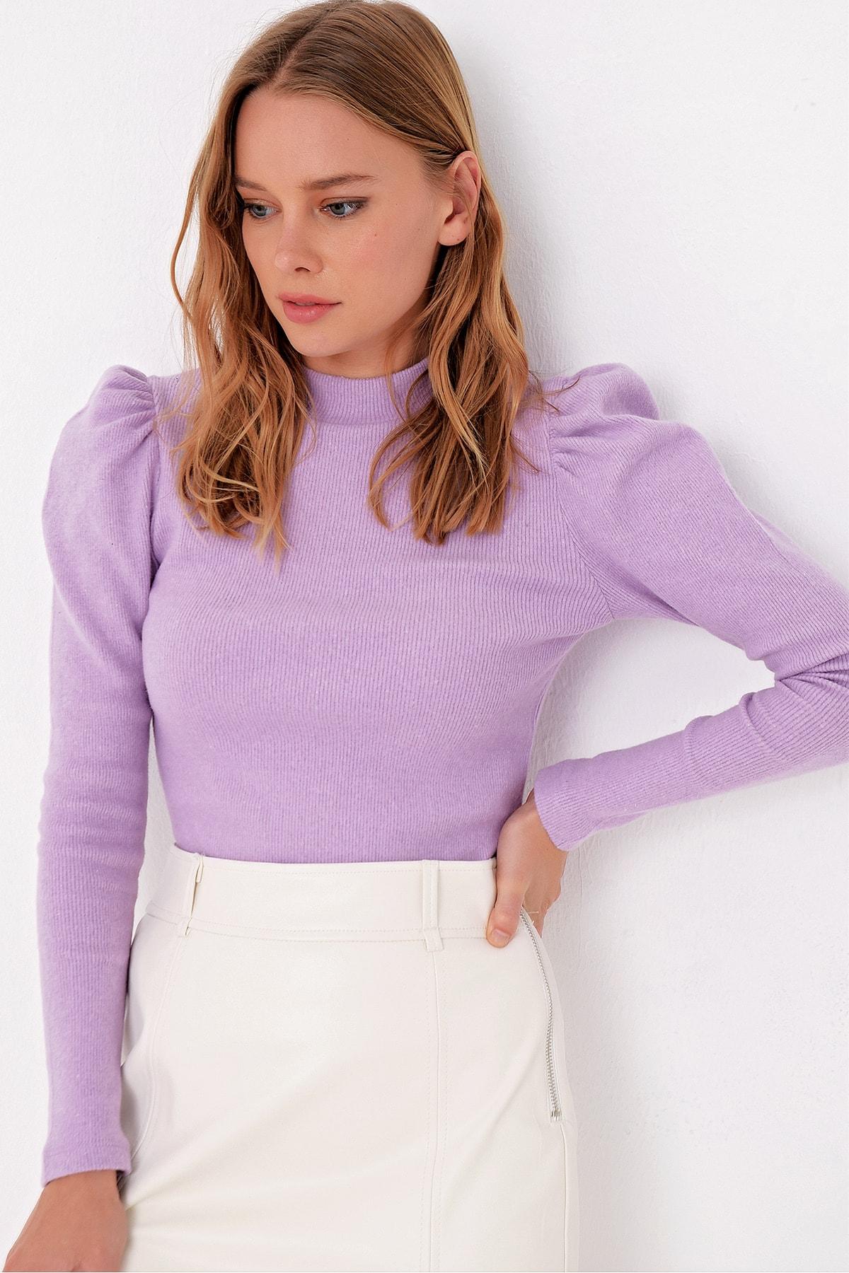 Trend Alaçatı Stili Kadın Lila Prenses Kol Yarım Balıkçı Şardonlu Crop Bluz ALC-X5042 2