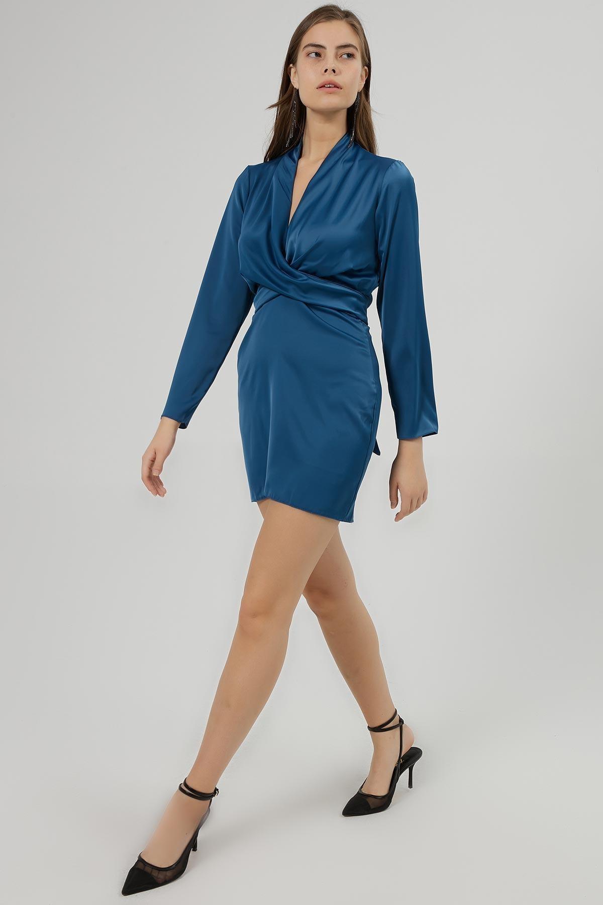 Pattaya Kadın Kruvaze Yaka Bağlamalı Saten Elbise Y20w180-6541 2