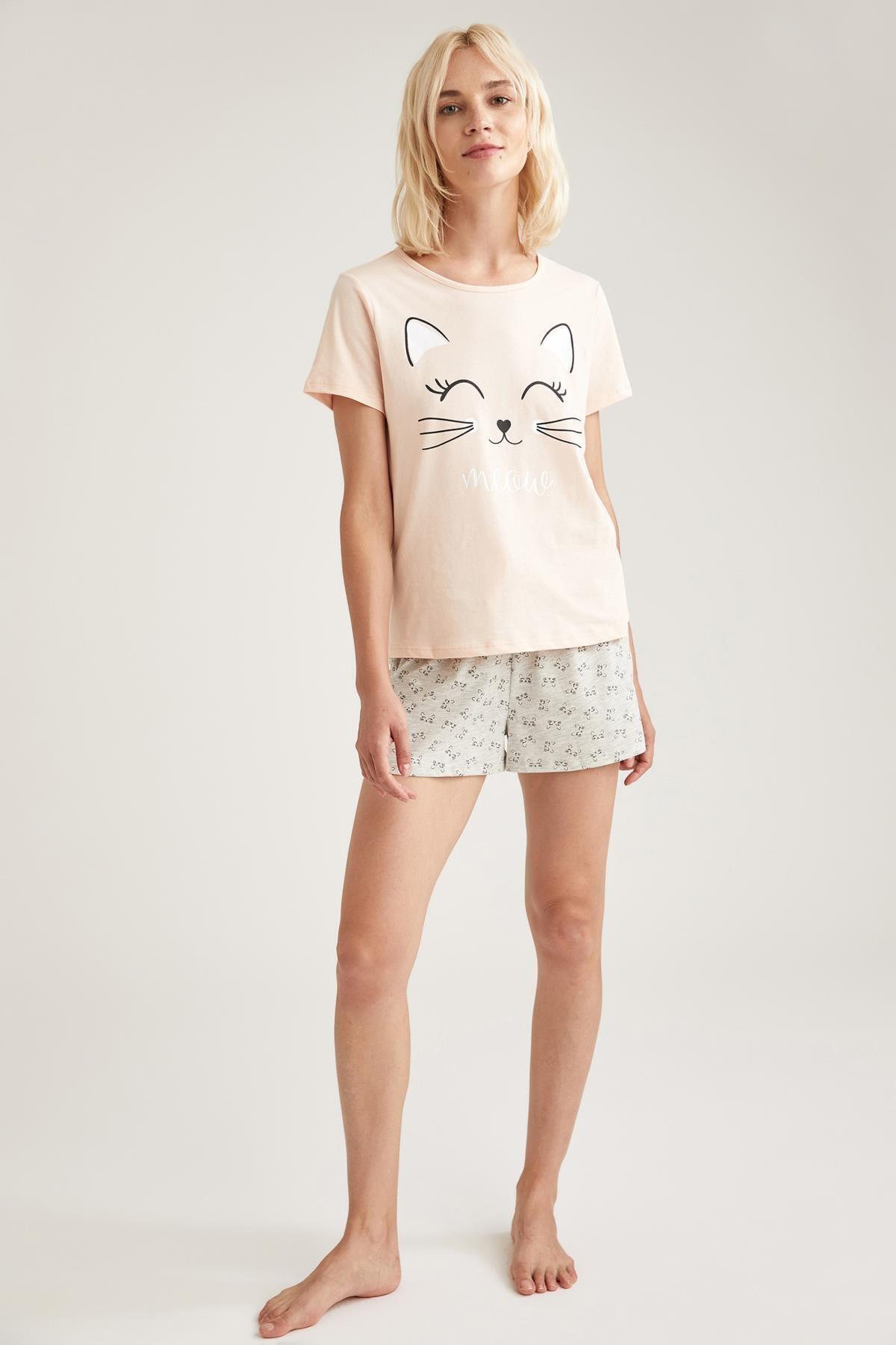 DeFacto Fit Kadın Gri Baskılı Pijama Takımı 2
