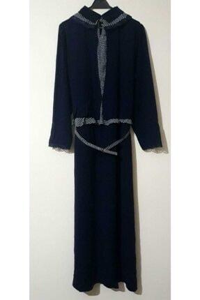 Puane Kadın Lacivert Kazayağı Tesettür Abiye Elbise