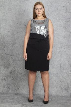 Şans Kadın Siyah Payet Ve Bel Bel Detaylı Elbise 65N19197