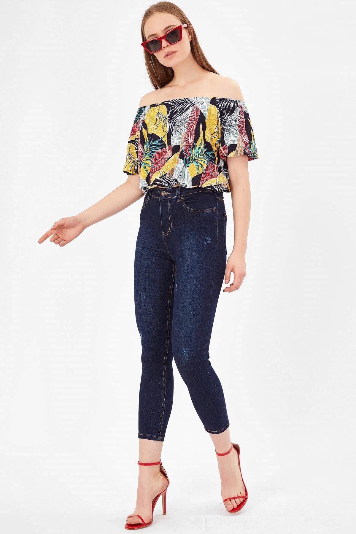 Arma Life Kadın Koyu Mavi Tırnaklı Yüksek Bel Pantolon 2