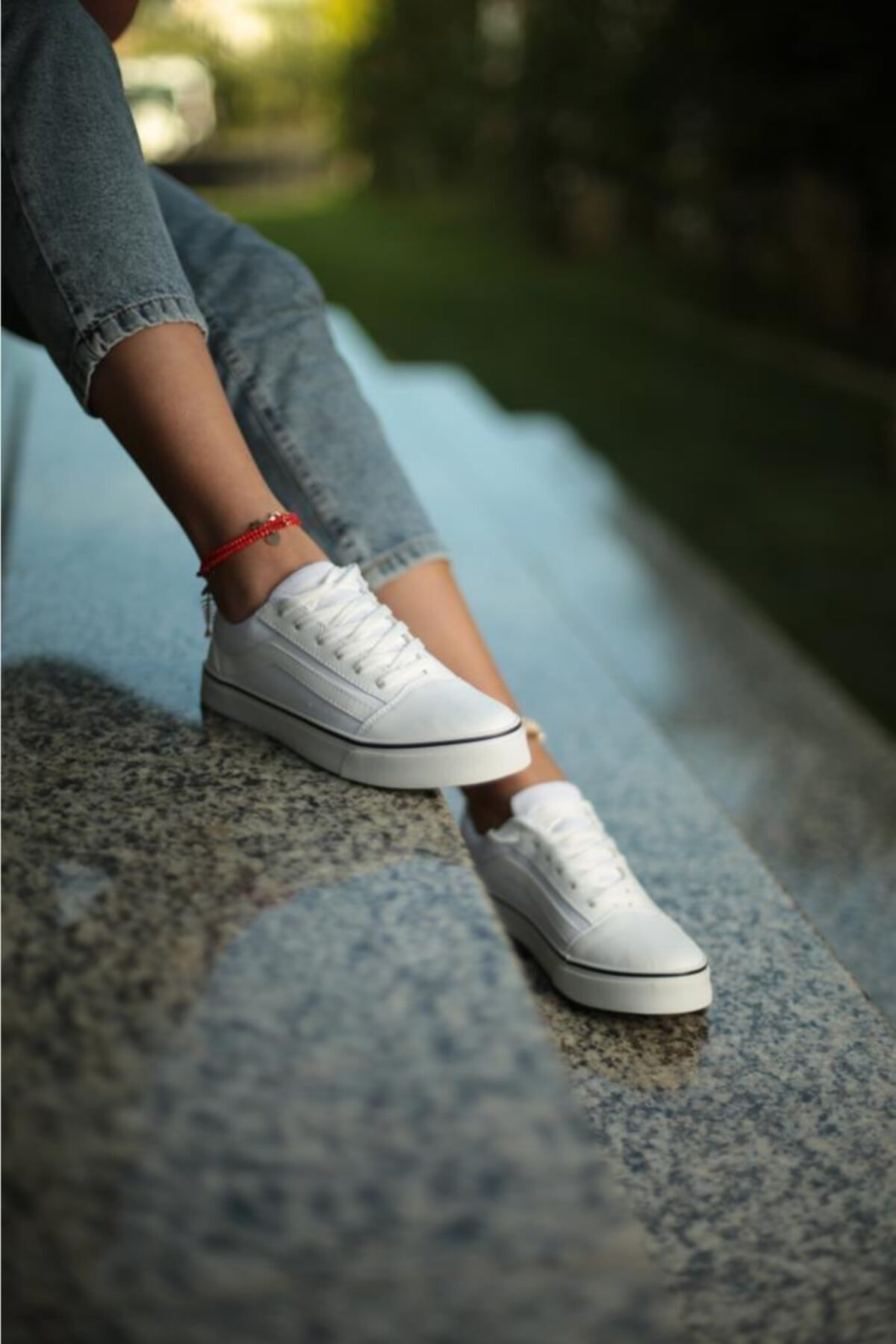 ESPARDİLE Kadın Beyaz Siyah Günlük Spor Ayakkabı 2