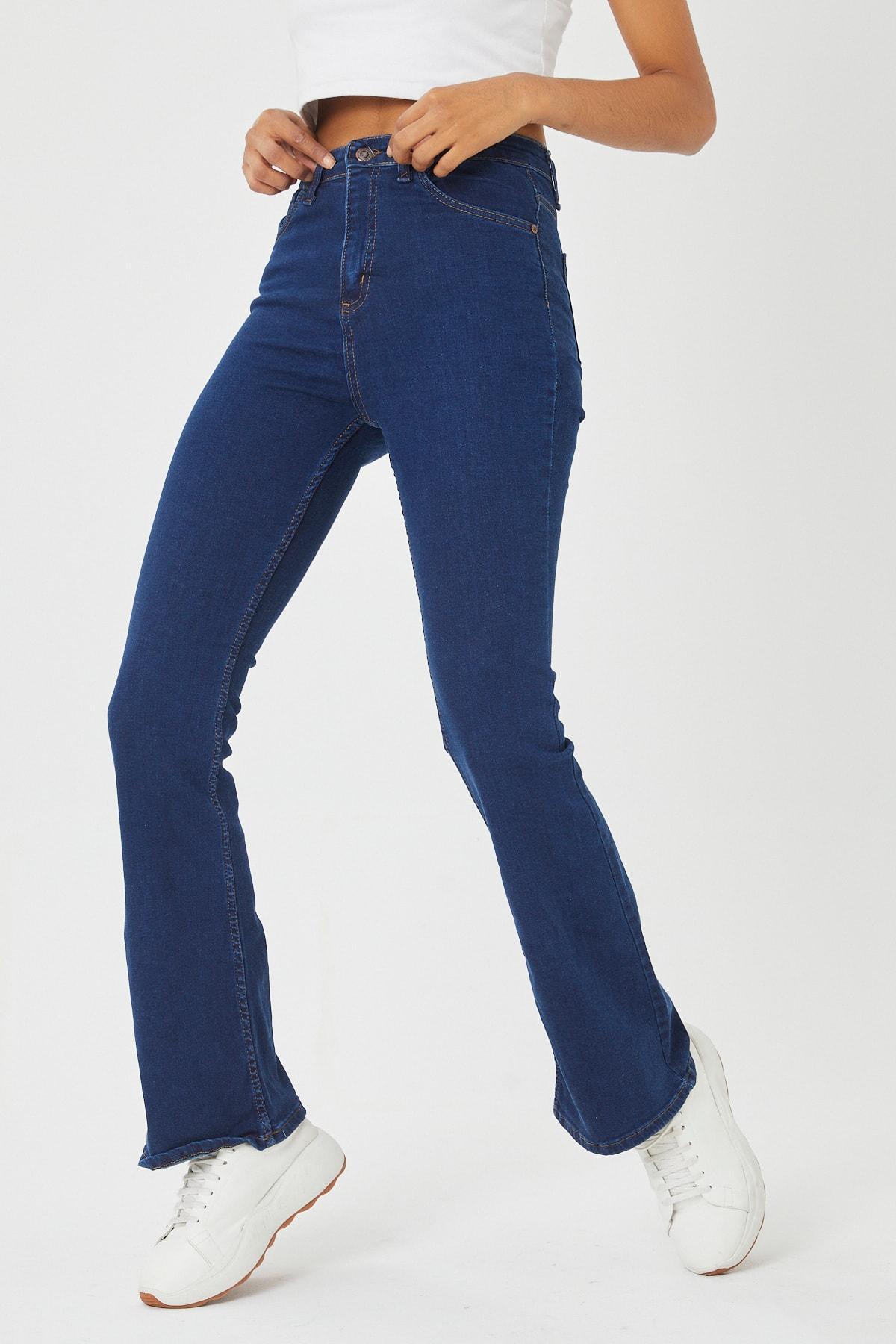 VAV Kadın Mavi İspanyol Paça Kot Pantolon 2