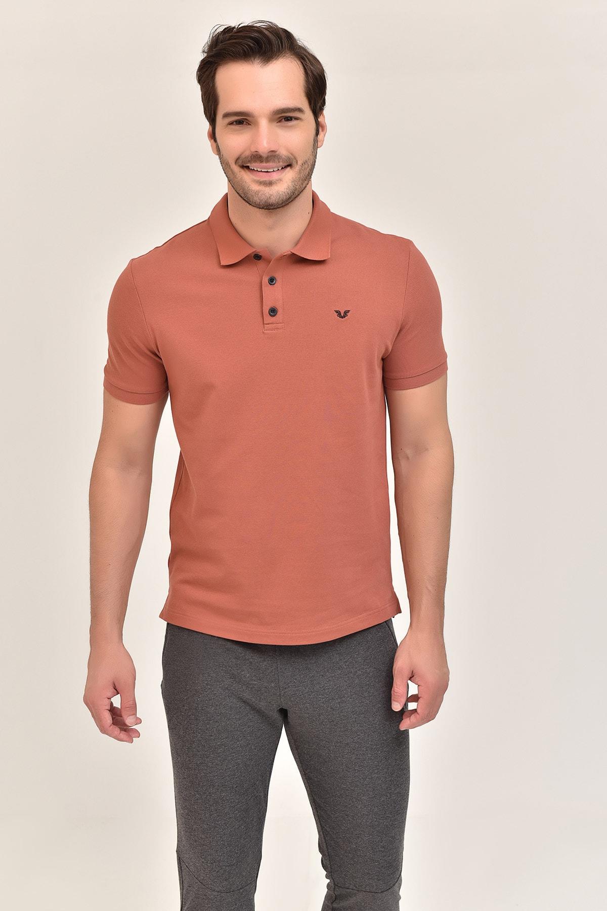 bilcee Kahverengi Büyük Beden Polo Yaka Erkek T-Shirt GS-8983 1