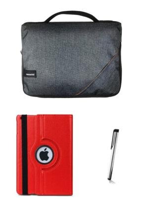 """Moserini Ipad Air2 9.7"""" Smart Slim Gri Tablet Çantası Kırmızı Dönerli Kılıf Kalem"""