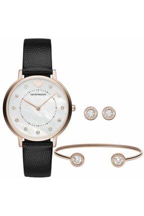 Emporio Armani Kadın Siyah Saat ve Bileklik AR80011