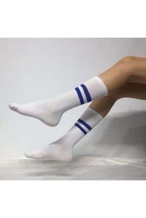 ADEL ÇORAP Unisex Mavi Şeritli Soket (uzun) Çorap