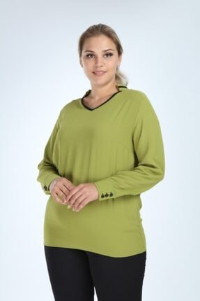 Lir Kadın Yeşil Büyük Beden Uzun Kol Biyeli V Yaka Bluz