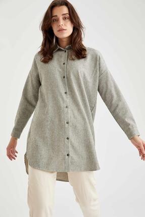 DeFacto Kadın Çizgili Oversize Gömlek