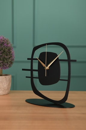 Muyika Design Muyika Maceire Metal Siyah Masa Üstü Saati 21x23cm