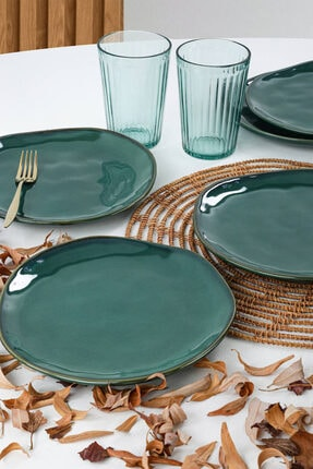 Keramika Zümrüt Organik Pasta Tabağı 20 Cm 6 Adet