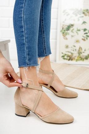 Life is Shoes Kadın Bej Topuk Çapraz Bantlı Ayakkabı