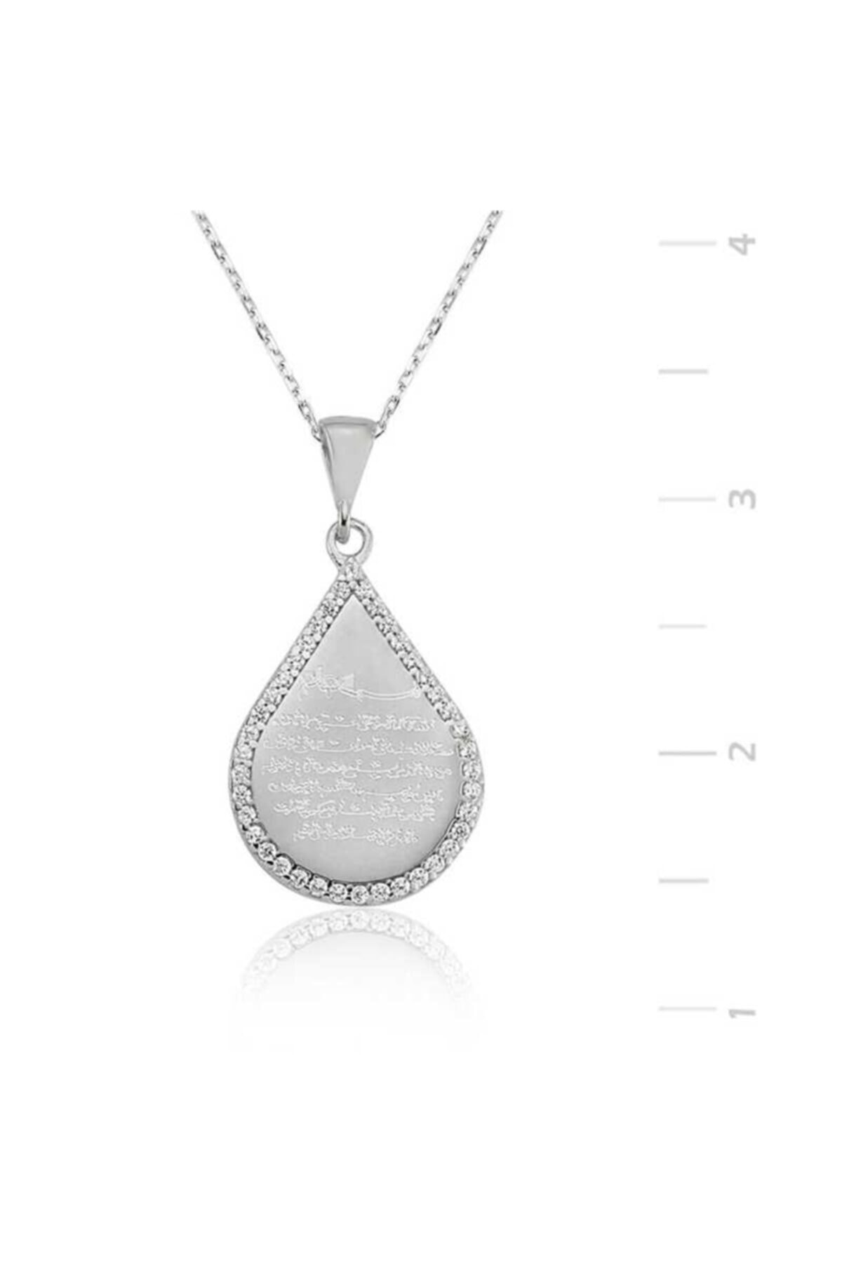 Silverplus Kadın Gümüş Damla Ayetel Kürsi Kolye 1102 1