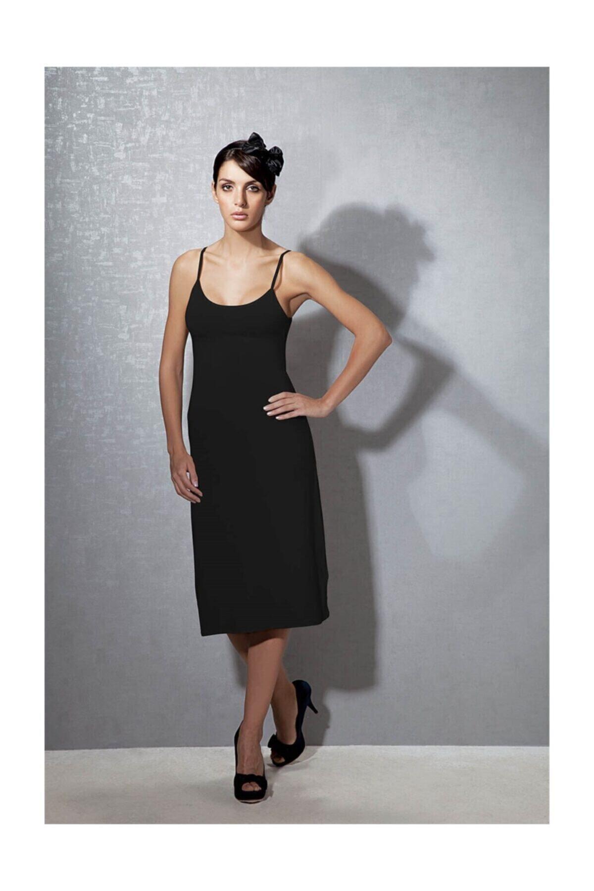 Doreanse Kadın Modal Siyah Askılı Jüpon Kombinezon 11129 1