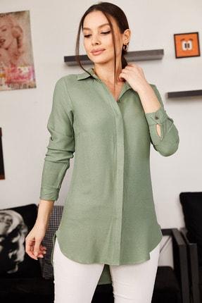 armonika Kadın Yeşil Tunik Gömlek ARM-19Y001003
