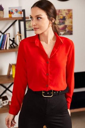 armonika Kadın Kırmızı Uzun Kollu Düz Gömlek ARM-19K001200