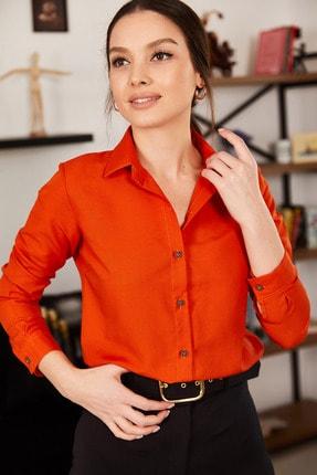 armonika Kadın Kiremit Uzun Kollu Düz Gömlek ARM-19K001200