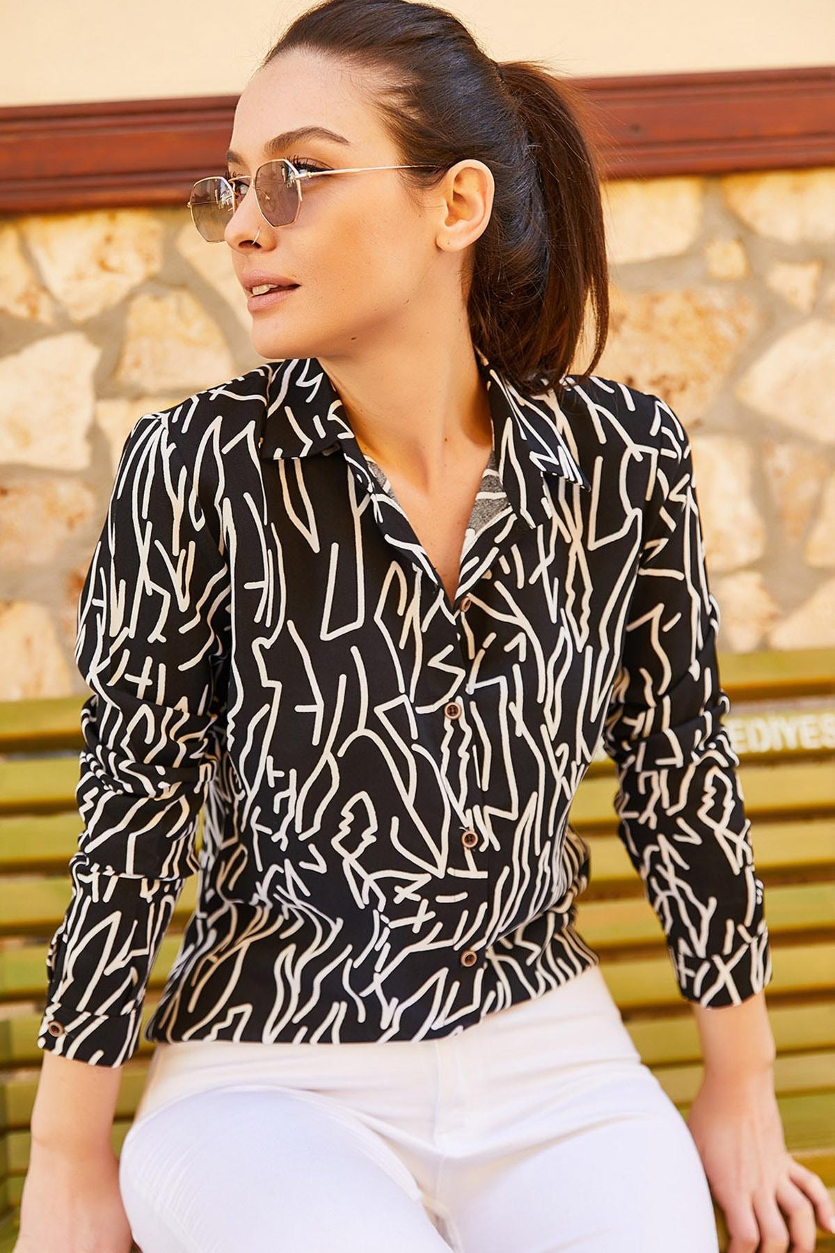 armonika Kadın Siyah Çizgi Desen Uzun Kol Gömlek ARM-20Y001002 2