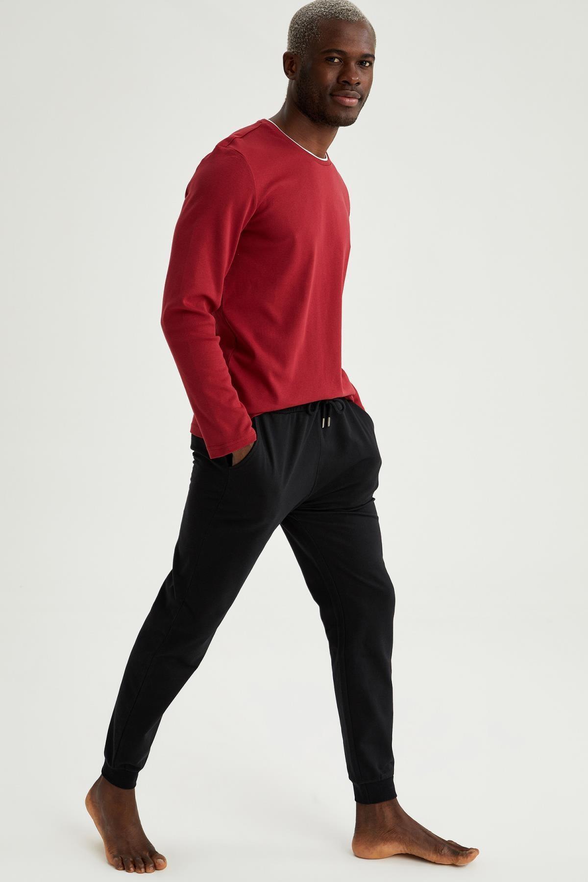 DeFacto Erkek Slim Fit Basic Pamuklu Pijama Takım T9027AZ21SPBR114
