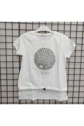 NK Kadın Beyaz Dünya Baskılı Taşlı T-shirt