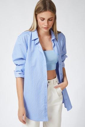 Happiness İst. Kadın Mavi Çizgili Oversize Pamuklu Gömlek US00478