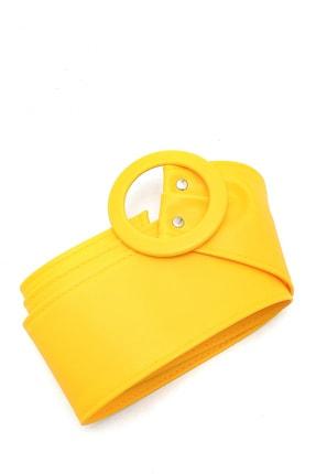 Trend Alaçatı Stili Kadın Sarı Toka Detaylı Kemer ALC-A2177