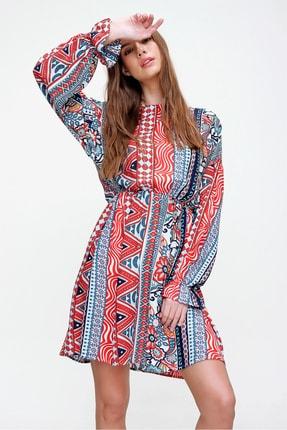 Trend Alaçatı Stili Kadın Mercan Etnik Desenli Dokuma Elbise ALC-X6004