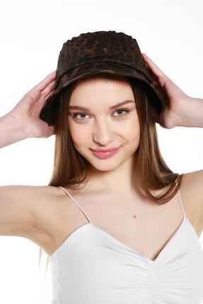 Y-London 14007 Leopar Desenli Kahverengi Bucket Şapka