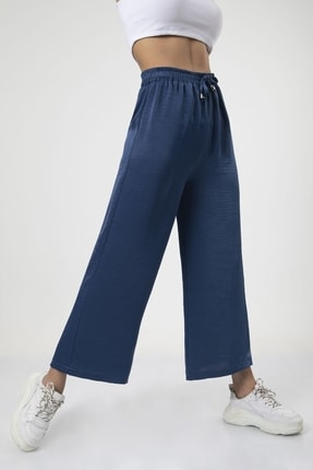 MD trend Kadın Indigo Bel Lastikli Bağcıklı Bol Paça Salaş Pantolon