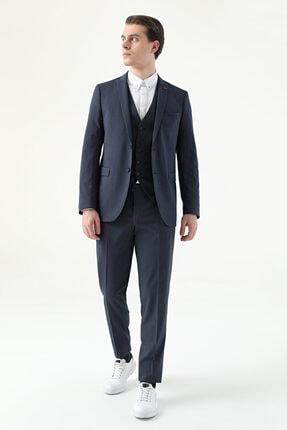 D'S Damat Erkek Lacivert Çizgili Yelekli Twn Slim Fit Takım Elbise