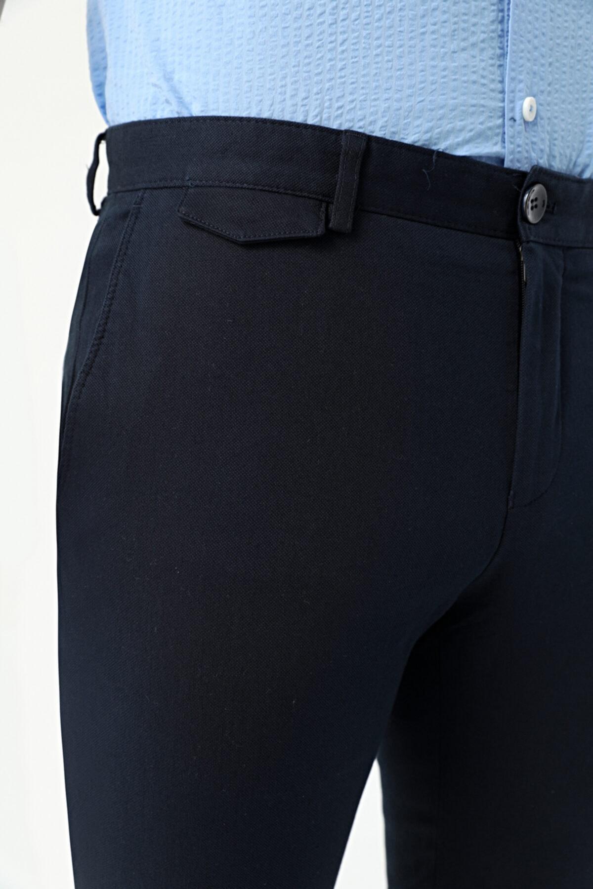 D'S Damat Erkek Lacivert Armürlü Twn Slim Fit Chino Pantolon 2