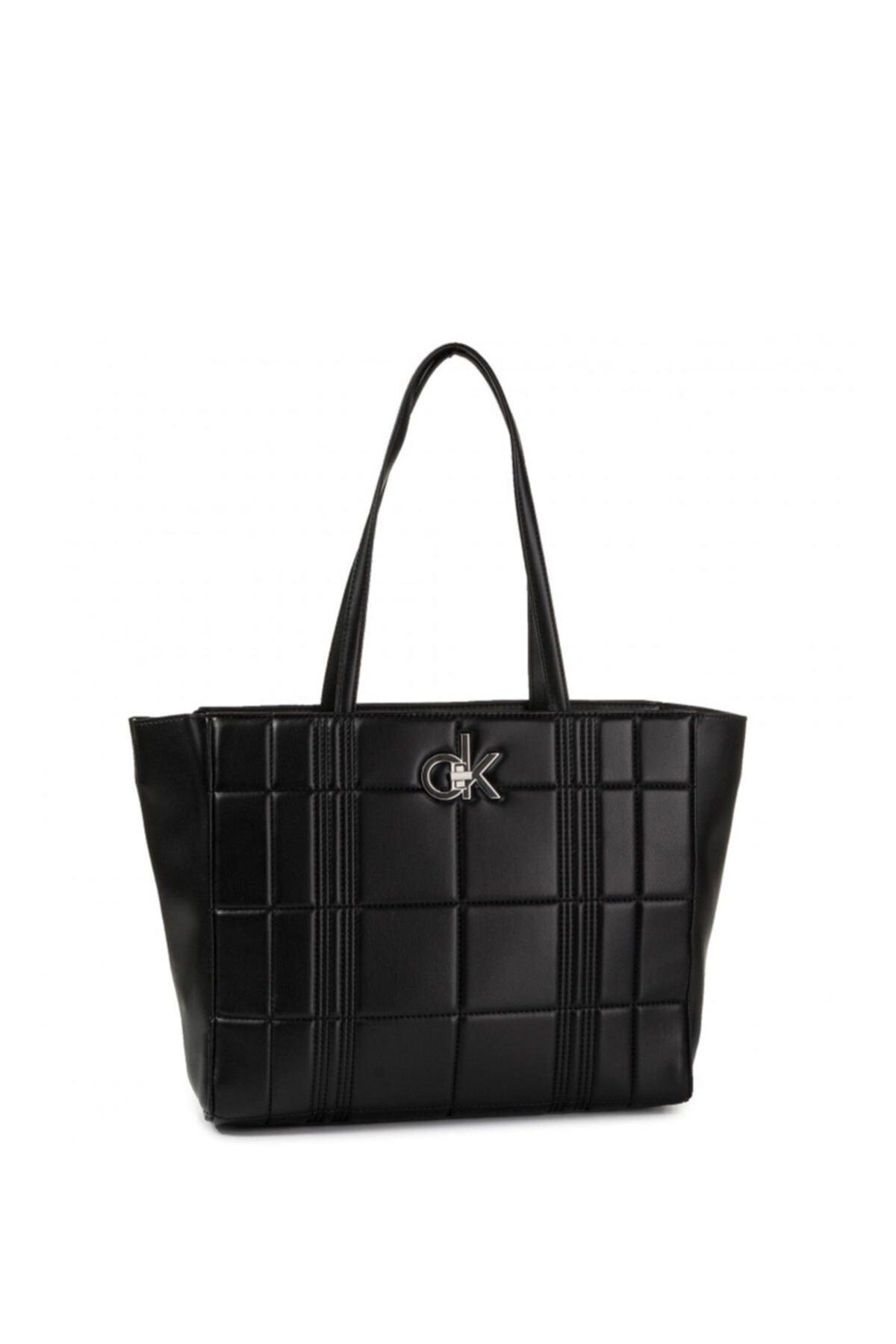 Calvin Klein Kadın Siyah Re Lock Shopper Q Çanta 1