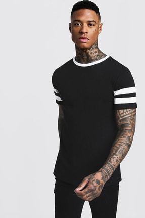 XHAN Siyah & Beyaz Bisiklet Yaka Yaka & Kol Garnili T-shirt 1kxe1-44752-86