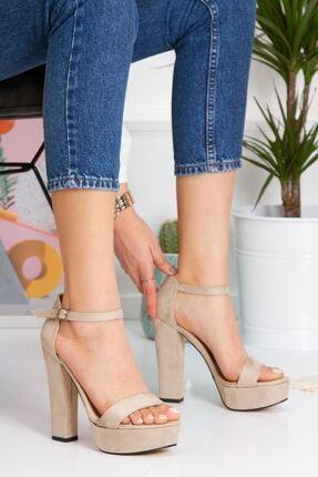 derithy Kadın Bej Lakove Topuklu Ayakkabı Byc7308