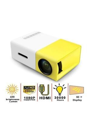 BLUECAT Yg300 Mini LED Projeksiyon Cihazı 600 Lümen Ev Sinema Sistemi Hdmi USB SD Kart Şarjlı