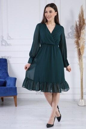 AVVER Kadın Zümrüt Yeşili Astarlı Kruvaze Şifon Elbise