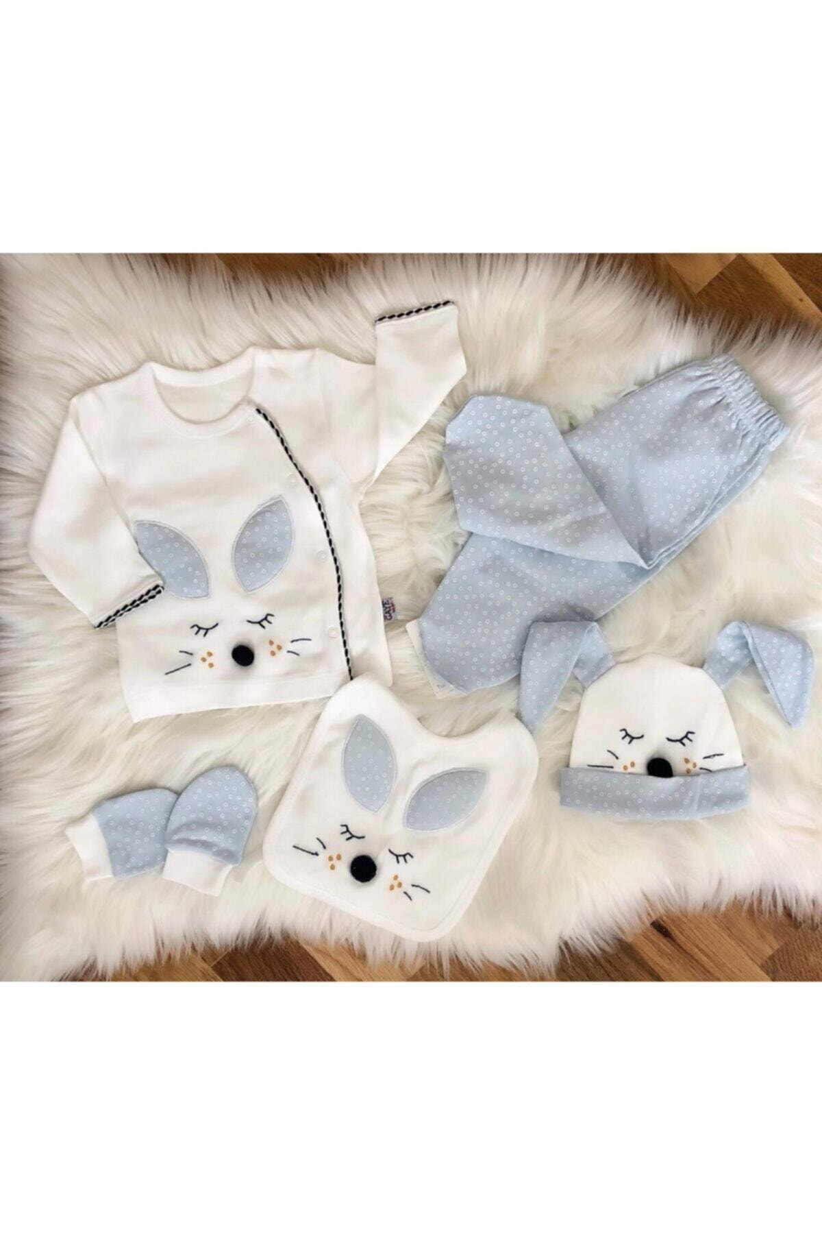 Gaye Bebe Erkek Bebek Beyaz Bebek 5'li Hastane Çıkışı Seti 100763 1