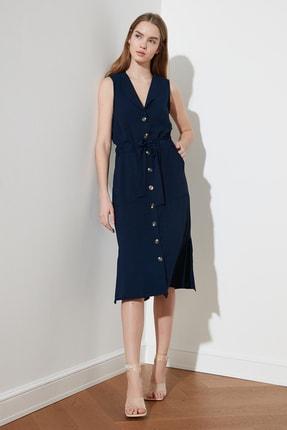 TRENDYOLMİLLA Lacivert Bağlama Detaylı Gömlek Elbise TWOSS21EL1656