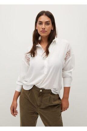 Violeta by MANGO Kadın Beyaz Dantel Detaylı Bluz