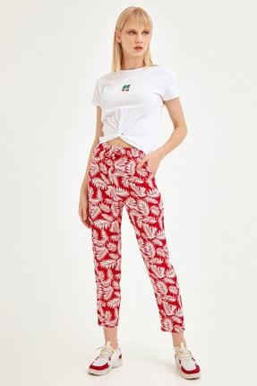 Fulla Moda Kadın Kırmızı Palmiye Desenli Pantolon