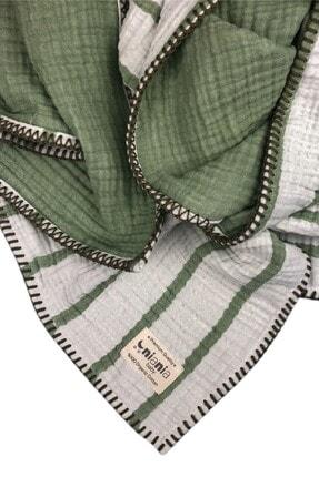 NiaNia Baby Yeşil Çizgili Nakışlı 4 Katlı Müslin Battaniye