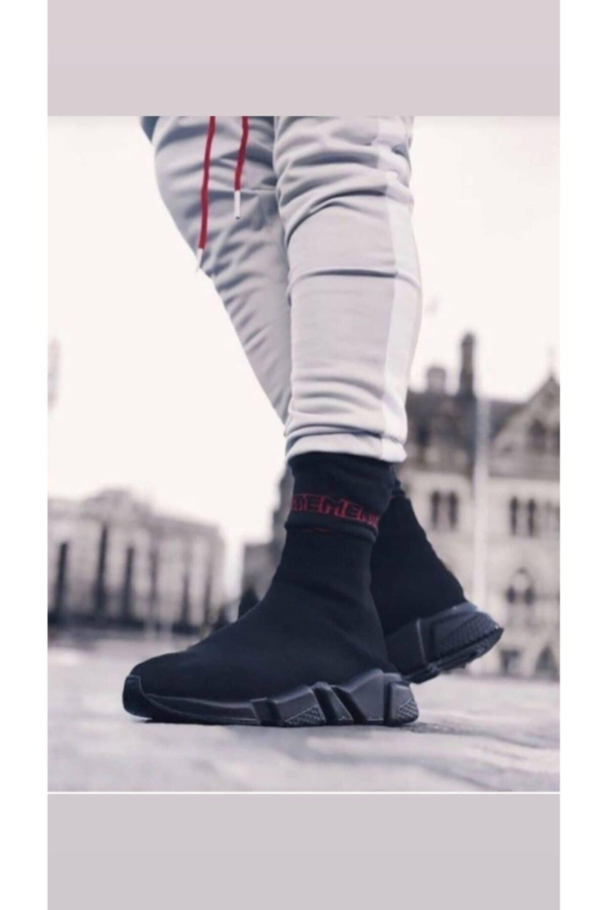 MİRKET Unisex Siyah Çorap Siyah Taban Sneakers Ayakkabı 1