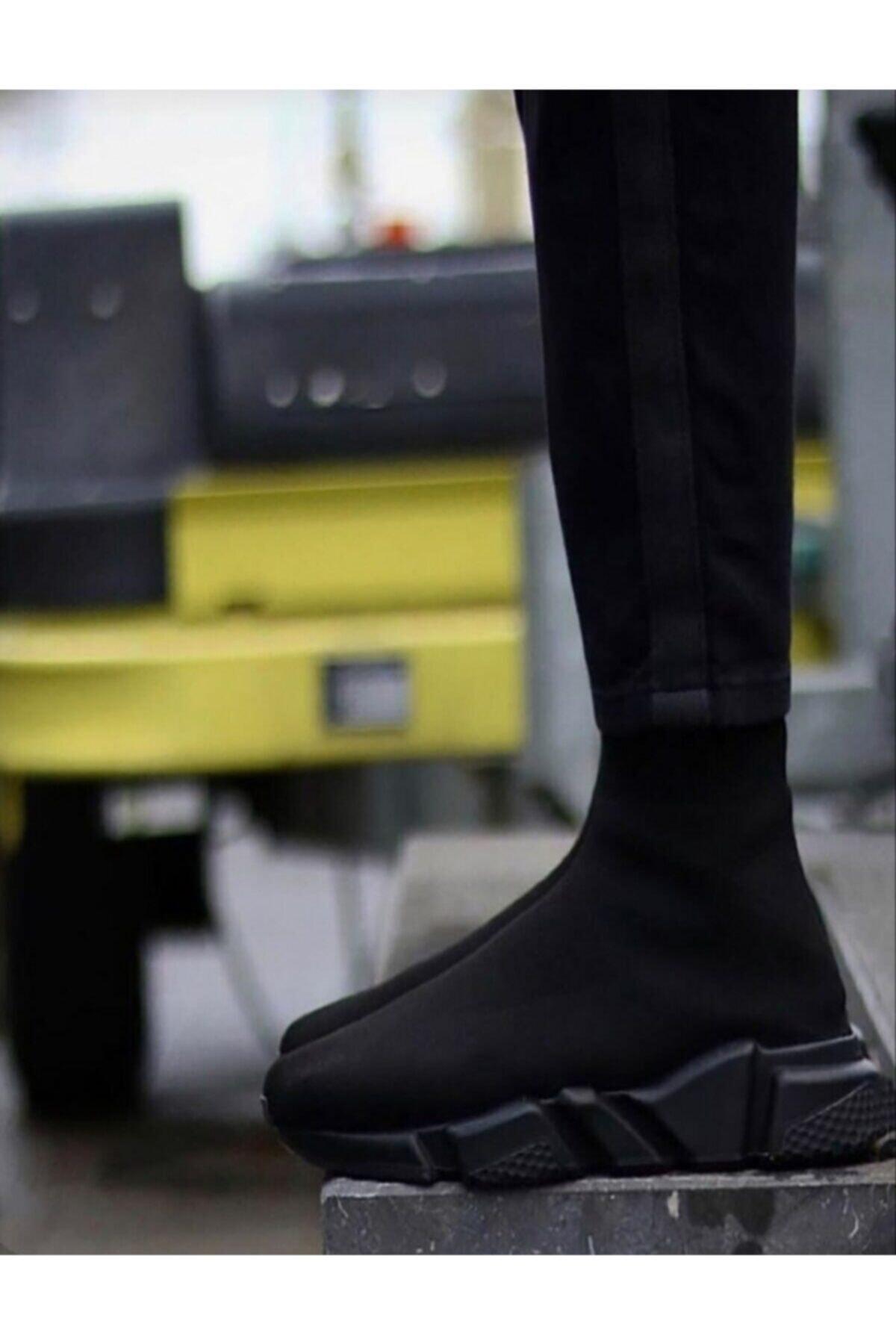MİRKET Unisex Siyah Çorap Siyah Taban Sneakers Ayakkabı 2