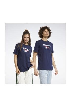 Reebok Unisex Yetişkin Spor T-Shirt CL F VECTOR TEE     VECNAV FT7422