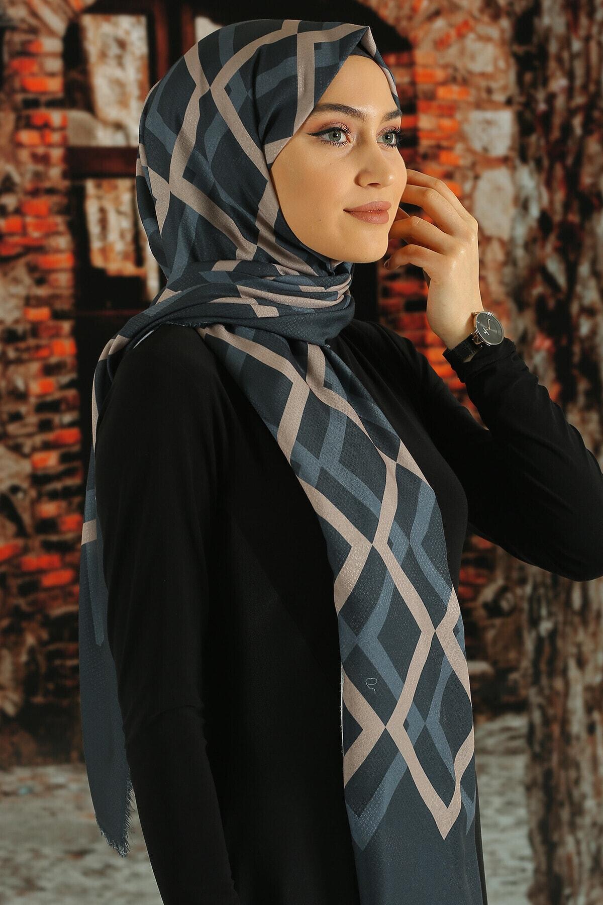 Moda Ebrar Kadın Lacivert Desenli Pamuk Şal 1