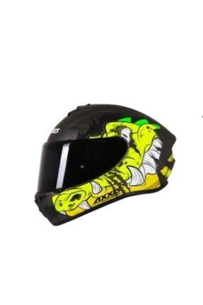 AXXIS Draken Trooper Matt Fluo Yellow Motosiklet Kaskı (Yeni Model)