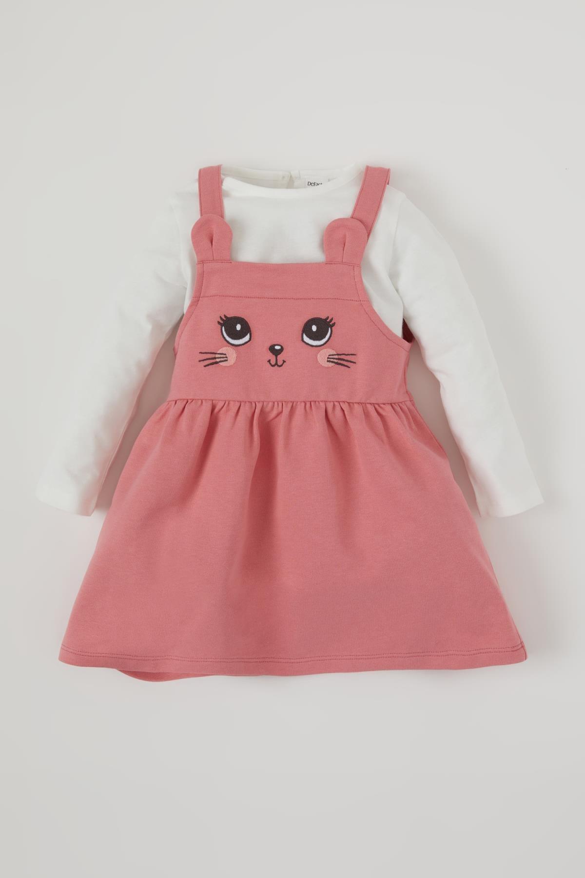 DeFacto Kız Bebek Kedi Baskılı Salopet ve Tişört Takım