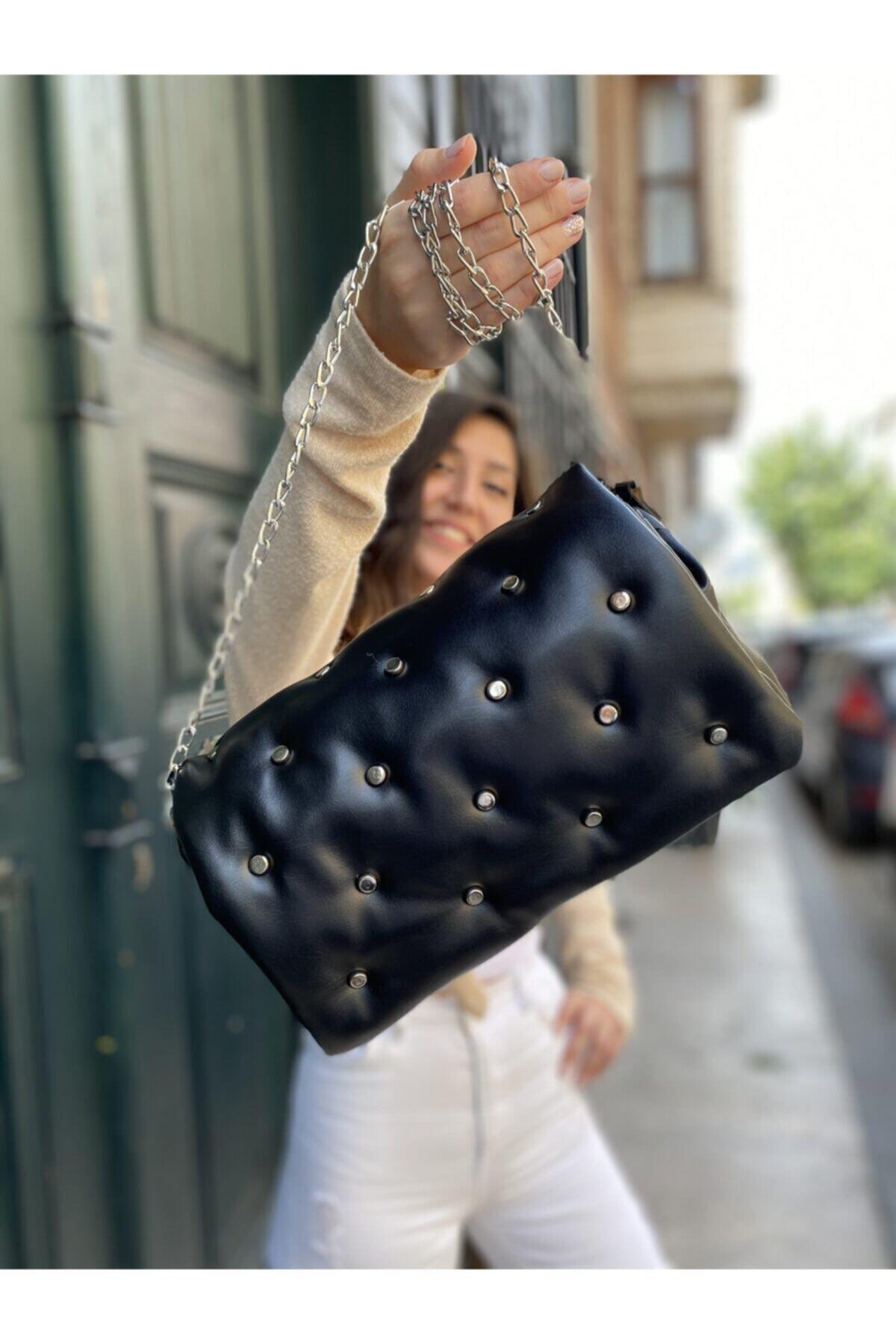 Celeps Çanta Kadın Siyah Yumoş Troklu Çapraz Askılı Omuz Çantası 2